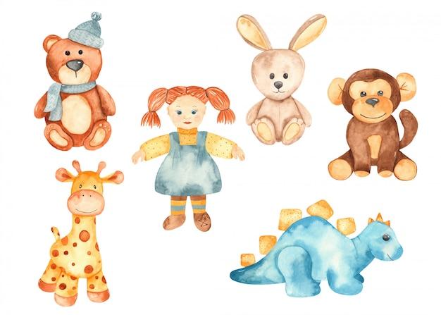 ぬいぐるみ、動物、人形、ぬいぐるみバニー、テディベア、キリン、サル、恐竜 Premiumベクター
