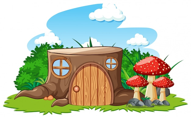 Stump house with mushroom in cartoon style on white background Free Vector