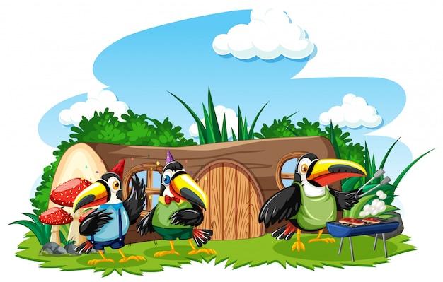 3つのかわいい鳥の漫画のスタイルの切り株の家 Premiumベクター