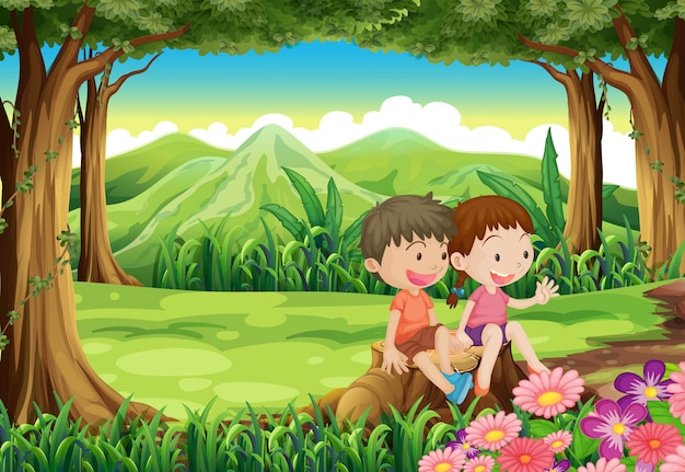 A stump with two adorable kids Free Vector
