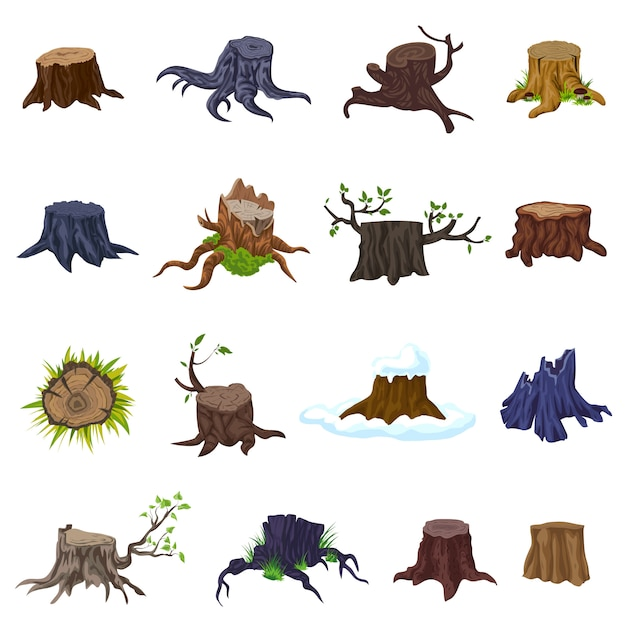 Stumps icons set. cartoon set of stumps icons Premium Vector