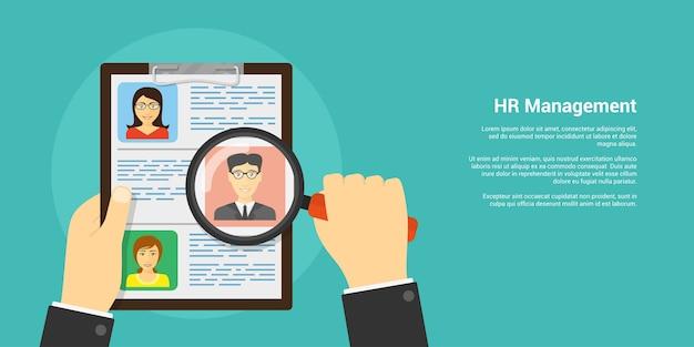 Style banner, human resource and recruiting concept, human hand with magnifying glass and people avatars Premium Vector