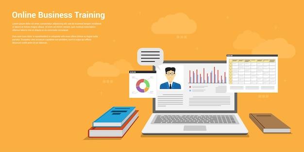 Style banner  of online business training, webinar, online education concept Premium Vector