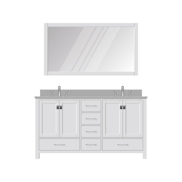 Style bathroom vanity and mirror. dressing table Premium Vector