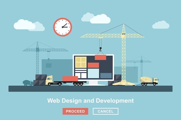 Webデザイン作業プロセスのスタイルコンセプト、リフティングクレーン、トラックなどの産業構造のようなwebデザインワークフローの比喩的な表現 Premiumベクター