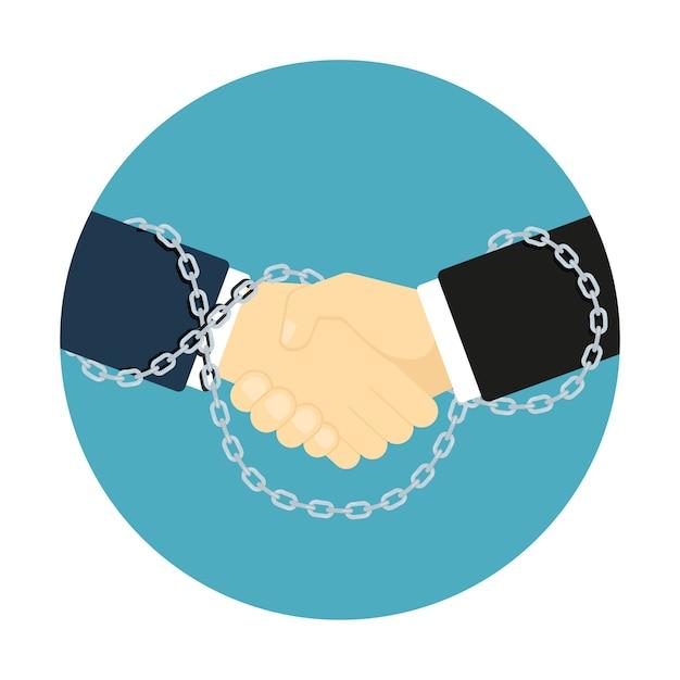 スタイルの握手アイコン、チェーンでバインドされている2つの人間の手の写真、ビジネスパートナーシップの概念 Premiumベクター