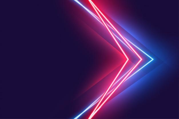 Стильный плакат с неоновым светом в красных и синих тонах Бесплатные векторы