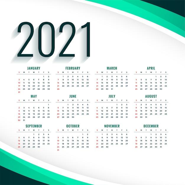 Elegante modello di progettazione del calendario moderno 2021 in colore turchese Vettore gratuito