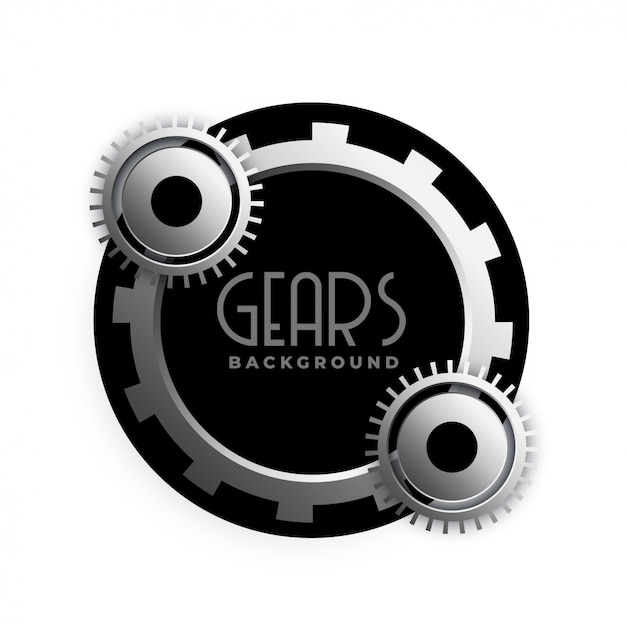 Stylish 3d metallic gears frame design Free Vector