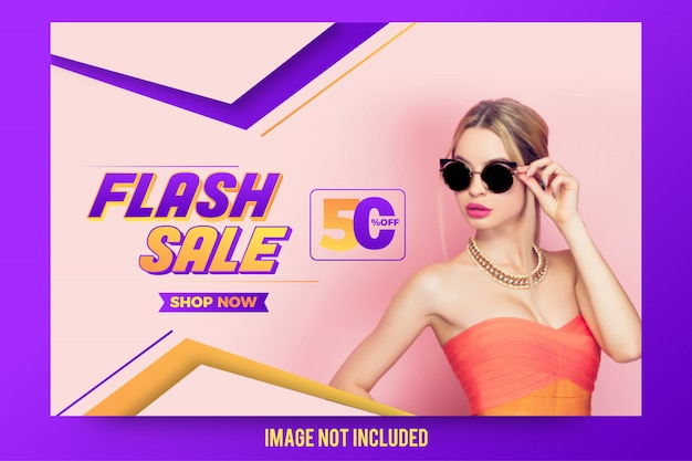 Stylish abstract flash sale offer banner design Premium Vector