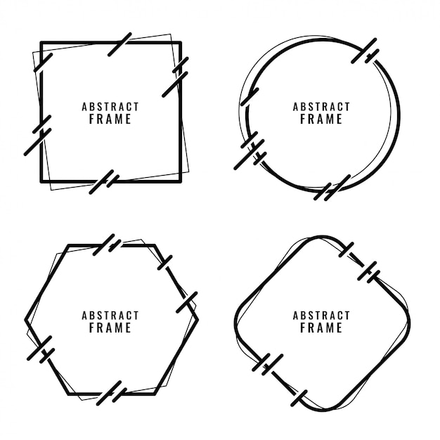 Stylish abstract lines style frames set Free Vector