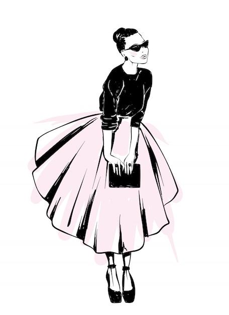 スタイリッシュな外観。服とアクセサリー。はがきやポスターのベクトルイラスト。ファッションとスタイル、ヴィンテージとレトロ。 Premiumベクター