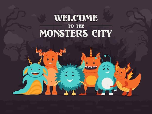 Стильный дизайн фона с милыми монстрами, стоящими в жутком лесу. добро пожаловать в город монстров. празднование и концепция хэллоуина. шаблон для рекламного или пригласительного билета Бесплатные векторы