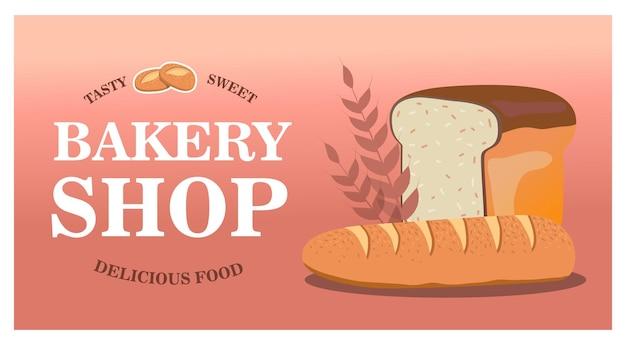 Design elegante panetteria con pane fresco. pagina web con gustosa pasticceria. cibo delizioso e concetto di pasticceria Vettore gratuito