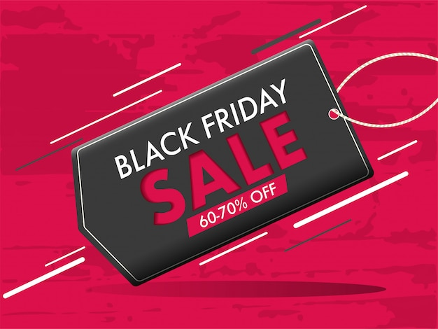 Stylish banner design, sale tag with 60-70% discount offer for black friday concept. Premium Vector