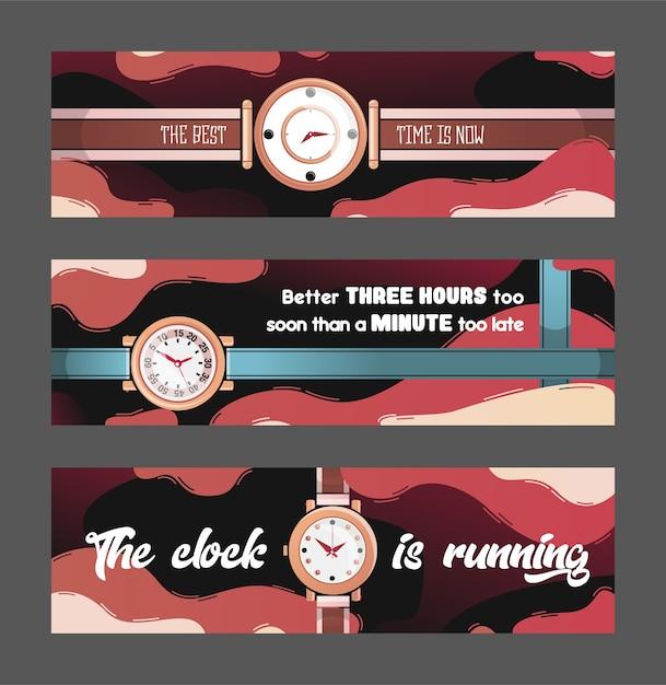 시계 벡터 일러스트와 함께 세련 된 배너입니다. 시간 관리 개념 무료 벡터