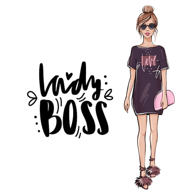 Stylish beautiful girl in fashion clothes with bag. Premium Vector
