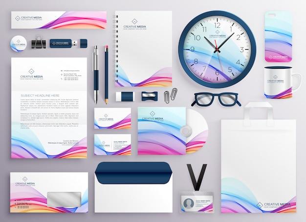 Stylish big set of business stationery items Free Vector