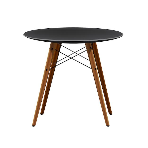 Stylish black chair with wooden legs kitchen modern stool Premium Vector