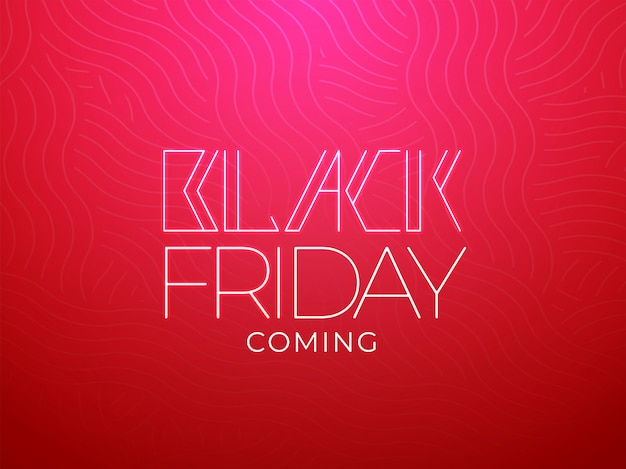 Stylish black friday coming message text on red wave seamless background. Premium Vector