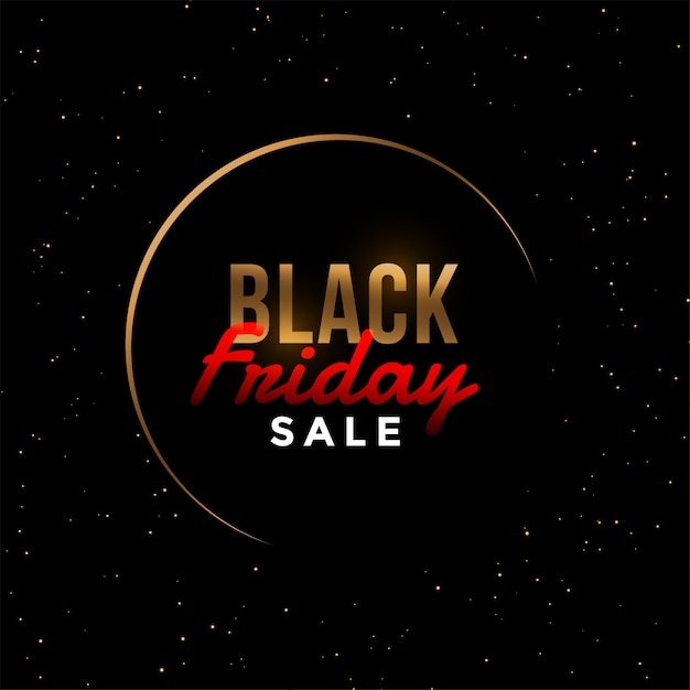 Stylish black friday golden sale banner Free Vector