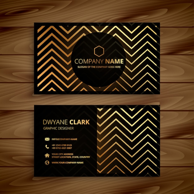 Stylish black and golden zigzag shapes business card Free Vector