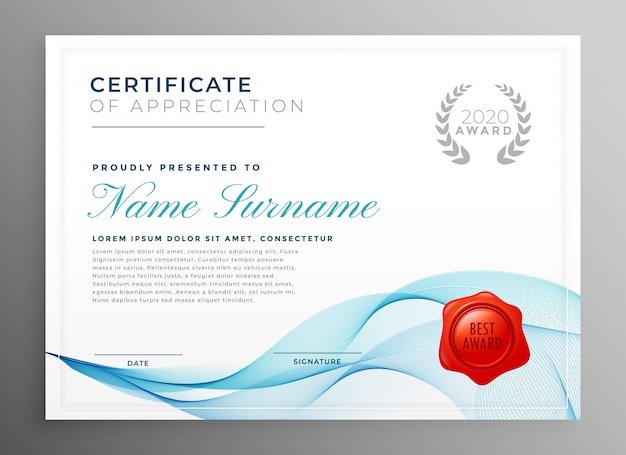 Stylish blue certificate of appreciation template Free Vector
