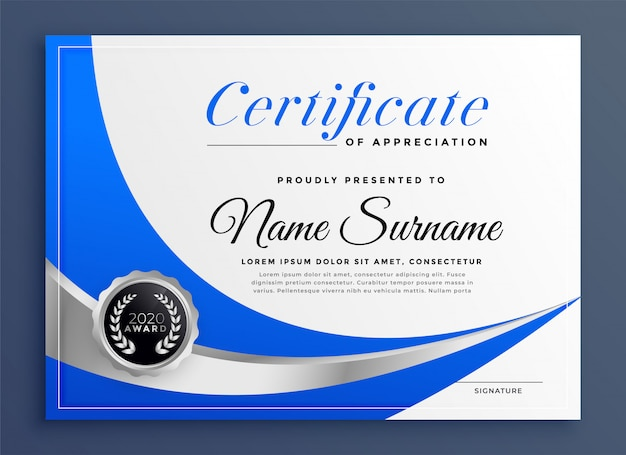 Stylish blue certificate template with wavy shape Free Vector