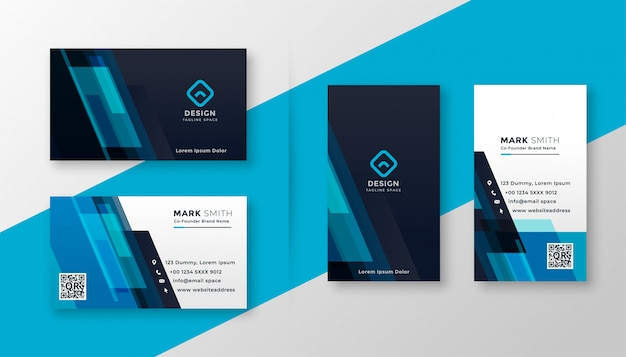 Stylish blue elegant business card design Free Vector