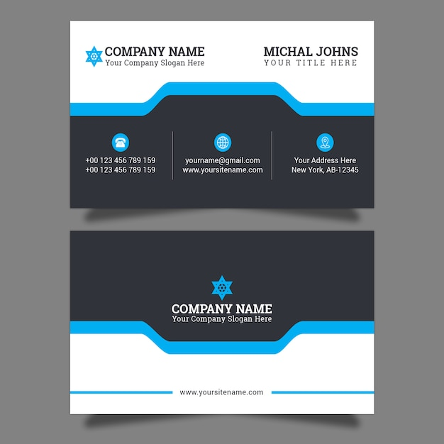 Stylish blue elegant business card Vector | Premium Download