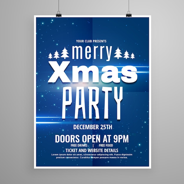stylish blue merry christmas flyer design template with holiday typography free vector