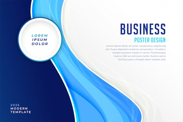 Stylish blue modern busienss presentation template Free Vector