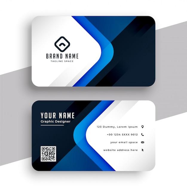 スタイリッシュなブルーのモダンなプロのビジネスカードテンプレート 無料ベクター