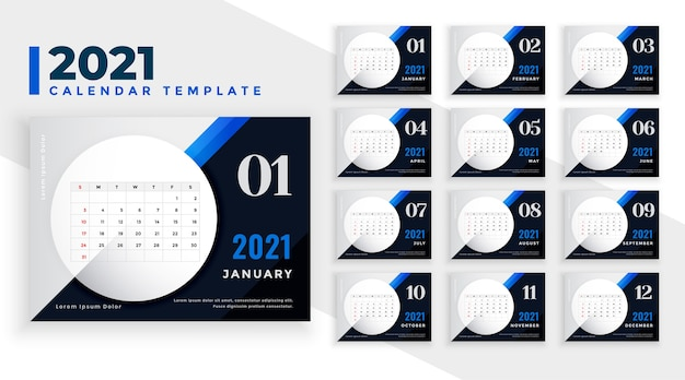 Stylish blue  new year calendar template Free Vector