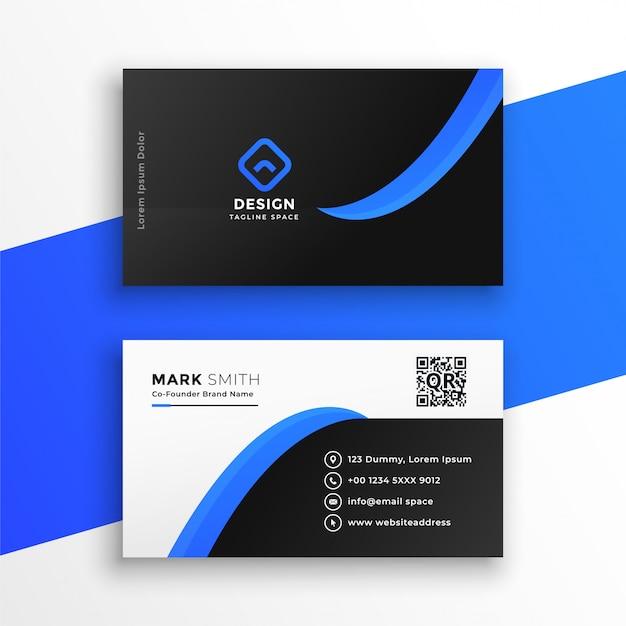 Стильный синий шаблон профессиональной визитки Бесплатные векторы