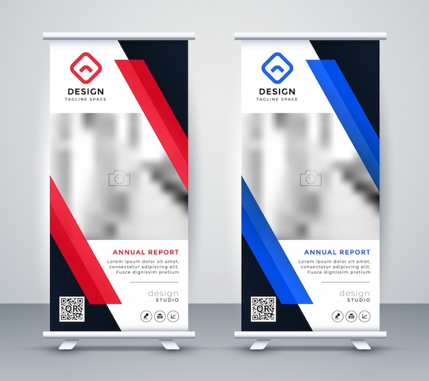 Stylish blue and red rollup banners set Free Vector