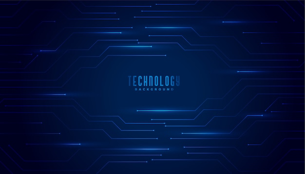Stylish blue technology circuit diagram lines background Free Vector