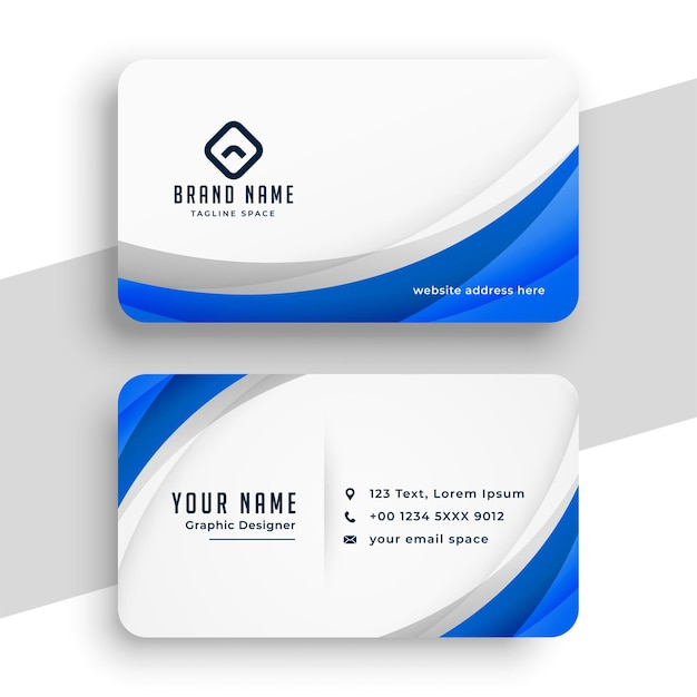 Stylish blue wave business template design Free Vector