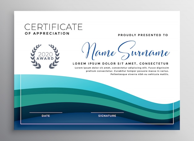 Stylish Blue Wave Certificate Of Appreciation Template Vector Free