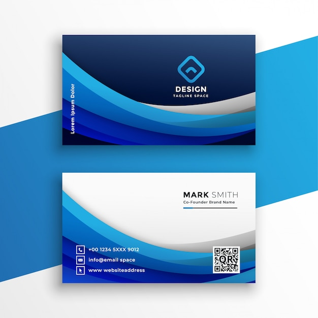 Stylish blue wavy business card modern template Free Vector
