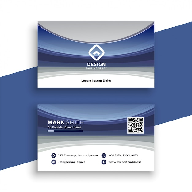 Stylish blue wavy business card template Free Vector