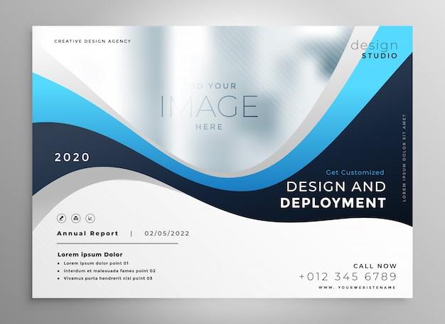 Stylish blue wavy business presentation banner Free Vector