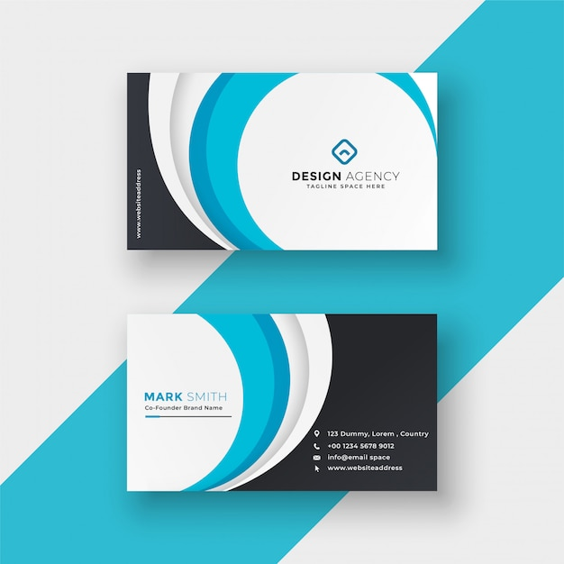 Stylish blue wavy modern business card design Free Vector
