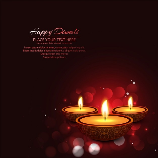 Stylish bokeh background of diwali Free Vector
