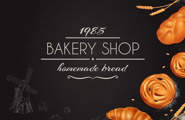 Стильная хлебопекарная реалистичная композиция с пекарней, домашний хлеб, заголовок на черном фоне Бесплатные векторы