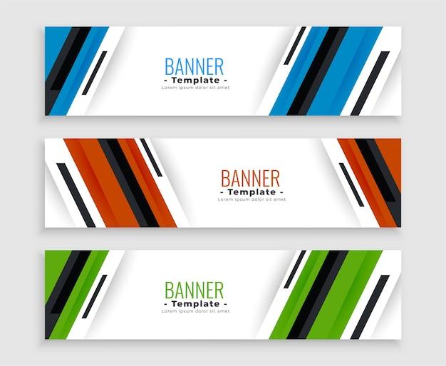 Eleganti banner aziendali in tre colori Vettore gratuito