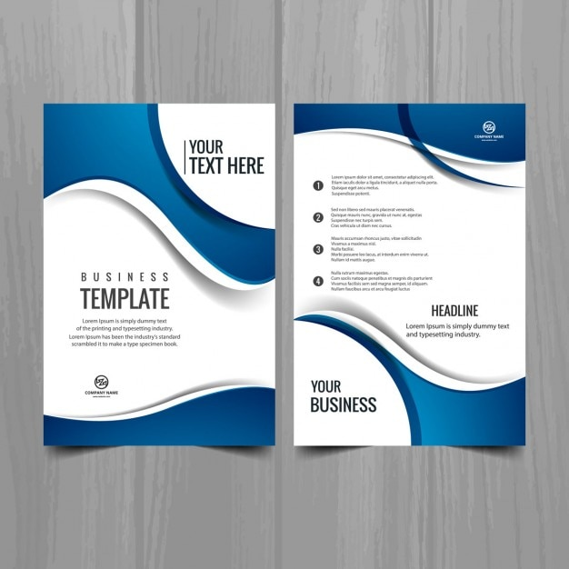 Stylish Business Brochure With Blue Waves Free Vector