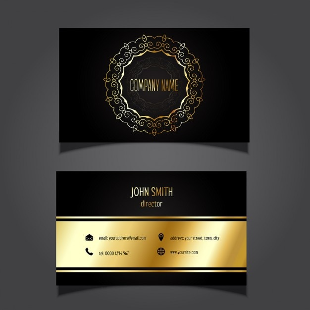 Stylish business card with golden details Free Vector
