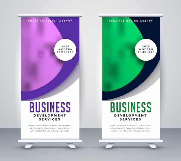 Stylish business roll up banner template design Free Vector
