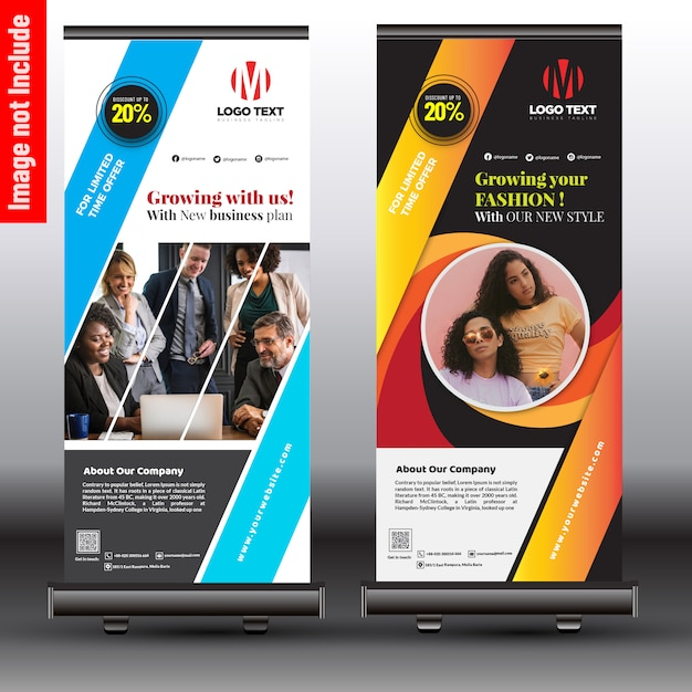 Stylish business roll up banner Premium Vector